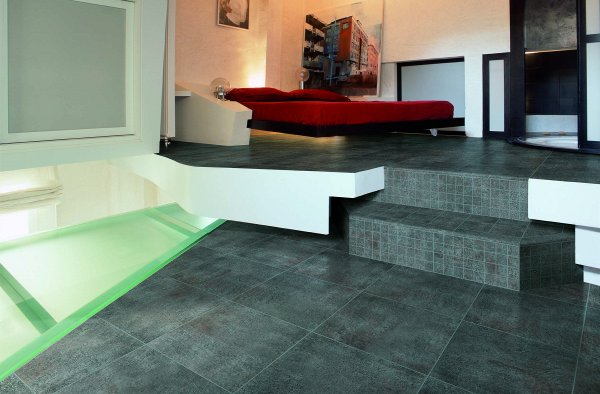 Modern arrangement of floor tiles