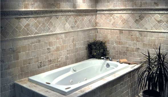 Tile Bathtub and Tile Wall