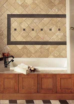 Wood panel on Tile Bath