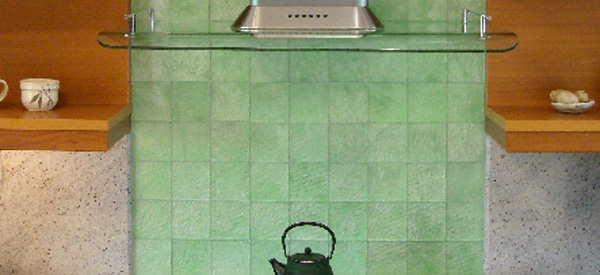 Green Tile Kitchen Backsplash