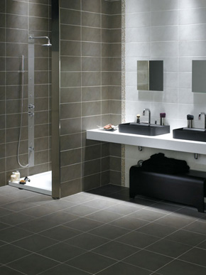 Ceramic Tile Bathroom on Keraben Bathsink With Contrasting Colors